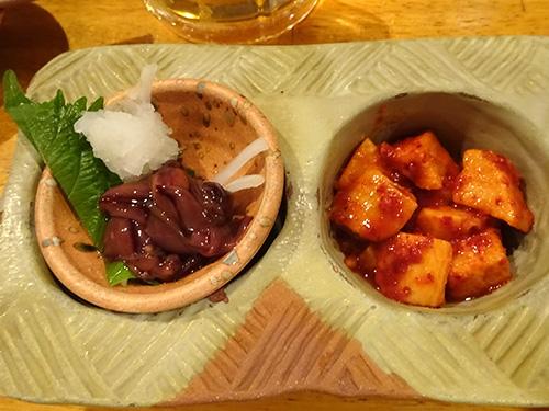 14おまかせ2種盛りホタルイカ沖漬け山芋キムチ