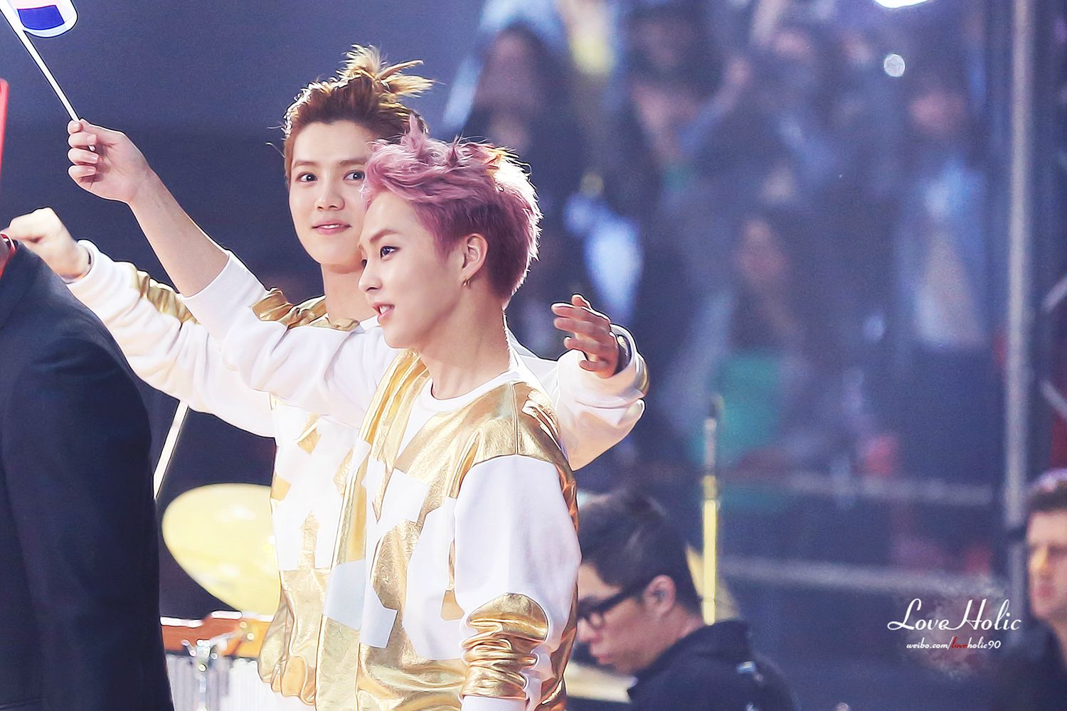 140406 Luhan and Xiumin at Peace Love Friendship Concert (cr Love Holic)4