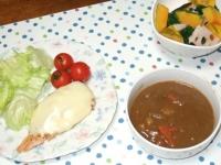 2/12 夕食 鮭のチーズ焼き、温野菜サラダ、カレーの残り