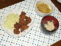 2/14 夕飯 鶏の唐揚げ、もやしとコーンのカレー炒め、玉子スープ