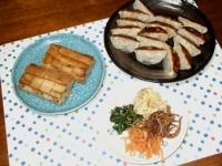 2/15 夕飯 穴子の押し寿司、餃子、ナムル
