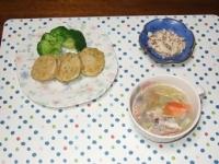 2/20 夕食 蓮根のはさみ揚げ、こんにゃくの白和え、野菜スープ
