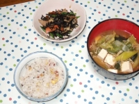 2/26 夕食 豚肉とひじきの炒め煮、キャベツ・長ネギ・豆腐・ワカメの味噌汁、雑穀ご飯