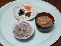 3/21 朝食 鮭フレーク、アミの佃煮、しそ昆布、豚汁、雑穀ご飯