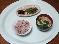 3/23 朝食 子持ち昆布、いんげんの胡麻和え、小松菜の味噌汁、雑穀ご飯