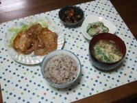 3/24 夕食 豚焼肉、ひじき豆、もずくサラダ、ニラ玉味噌汁、雑穀ご飯
