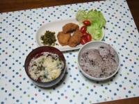 3/30 夕食 鶏の唐揚げ、明太高菜、玉子スープ、雑穀ご飯