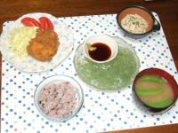 4/9 夕食 フライドチキン、えのきの明太和え、スナップえんどうとジャガイモの味噌汁、雑穀ご飯