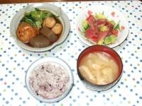 4/14 夕食 ひろうすと鶏団子の煮物、マグロとアボカドのサラダ、大根の味噌汁、雑穀ご飯