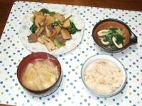 4/21 夕食 タケノコと牛肉のオイスター炒め、イカと分葱のぬた、豆腐とエノキの味噌汁、筍ご飯