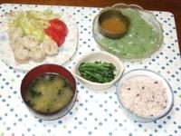 5/26 夕食 タケノコとしいたけのシュウマイ、ほうれん草の胡麻和え、刺身こんにゃく、豆腐と青さの味噌汁、雑穀ごはん