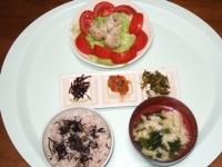 6/10 夕食 タケノコとシイタケのシュウマイ、3色冷奴、玉子スープ、雑穀ご飯