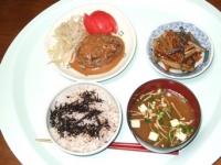 6/20 夕食 ハンバーグ、きんぴらごぼう、雑穀ご飯、ひじきふりかけ、豆腐の味噌汁