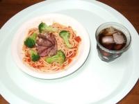 6/21 昼食 冷製トマトパスタ、麦茶