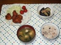 6/30 夕食 鶏の甘酢唐揚げ、揚げナスの煮びたし、豆腐とわかめの味噌汁、雑穀ご飯