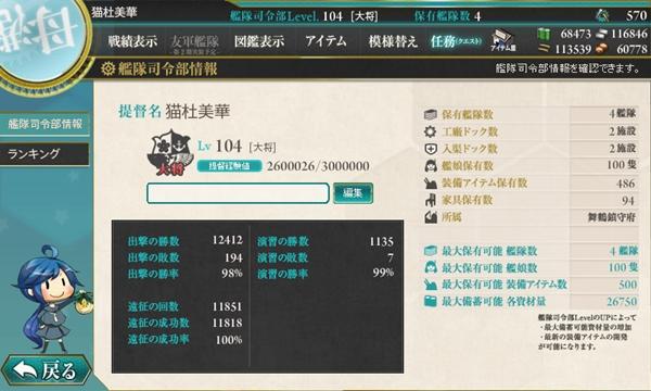 艦これ 提督レベル104