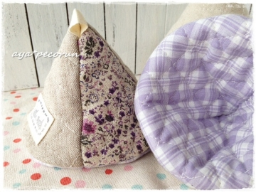三角なべつかみ 紫花柄