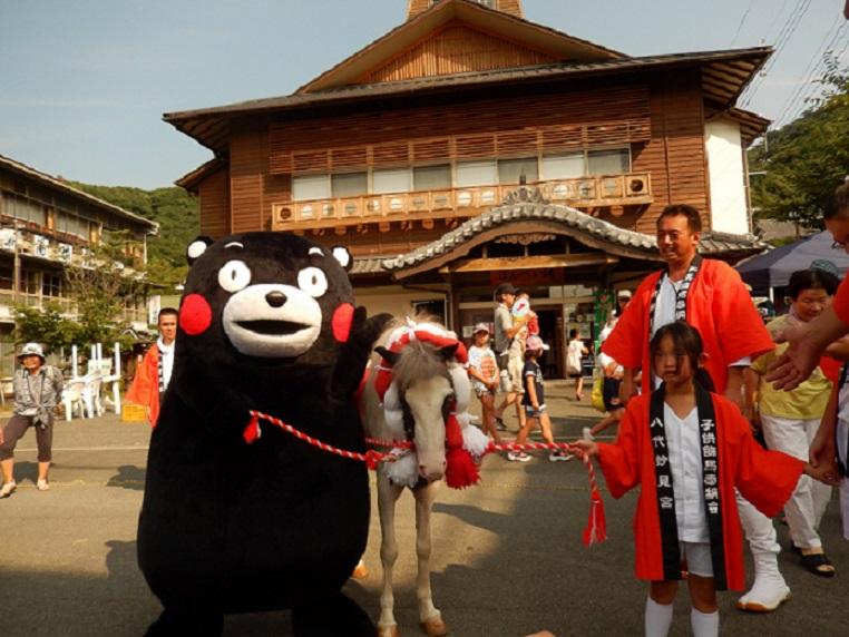 ばんぺい湯5周年祭 くまモンと馬