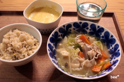 豚汁と納豆