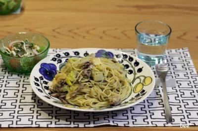 白菜と豚肉のパスタ