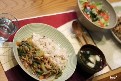 中華丼とサラダ