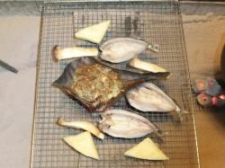 焼物(鮎の一夜干し、地物焼野菜、朴葉みそ)