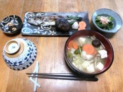ニジマスの塩焼きと山菜料理