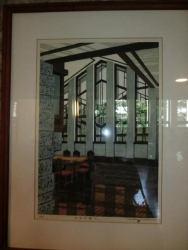 自由学園 明日館 ホールの窓の版画