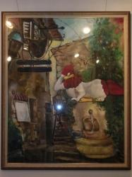 ギャラリーの鶏の絵画