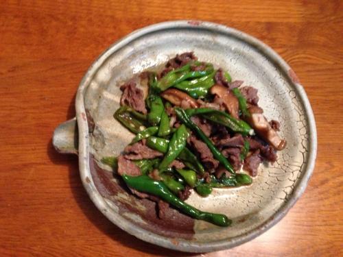 万願寺と牛肉の炒め物