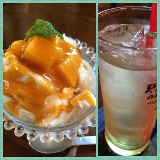 マンゴーのかき氷&デコポンサワー