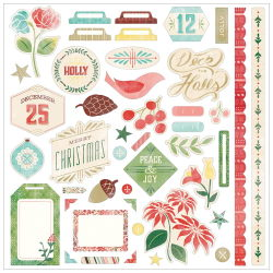 114981 [Basic Grey] Evergreen Cardstock Stickers 12インチ (Element) 414