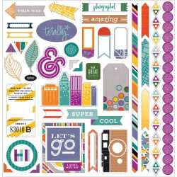 115072 [Basic Grey] Second City Cardstock Stickers 12インチ (Element) 414en 0815