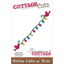 118590 CottageCutz Die 4X6 (Holiday Lights With Birds) 770 0818