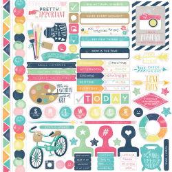 139712 [Echo Park Paper] Creative Agenda Cardstock Stickers 12インチ (Element) 0815 370