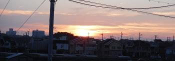 19時04分の石川西方面の夕日