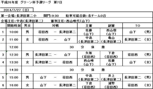 7月27日試合スケジュール