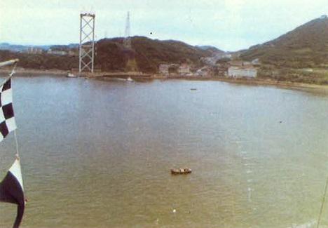 関門橋パイロットロープの渡海