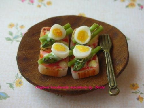 アスパラ&ゆで卵ピザトースト3