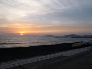 北条海岸の夕日
