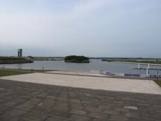道の駅 水の郷さわら 利根川の眺望