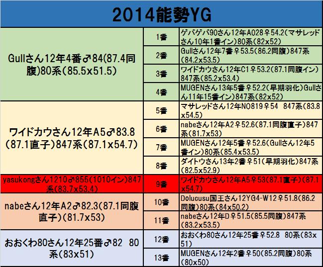 2014能勢YGペアリング表11