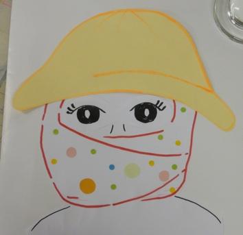 三角巾に帽子の絵