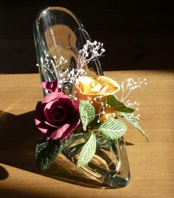 ガラスの靴とバラ