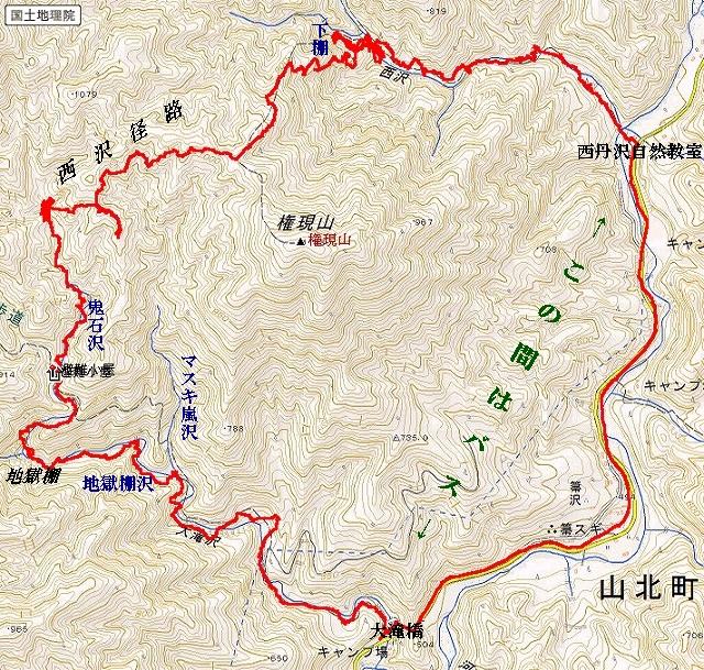 鬼石沢作業道と西沢径路