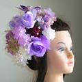 パープルダリアとローズと桜の和装髪飾り