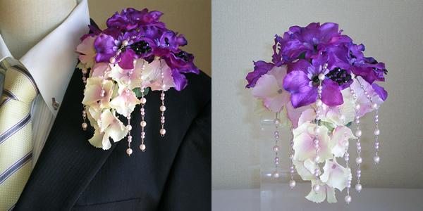 デルフィニュームと紫陽花のメンズコサージュ