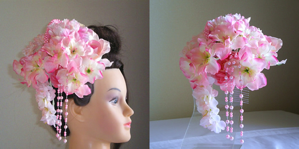 シャクヤクとデルフィニュームと桜の和装髪飾り