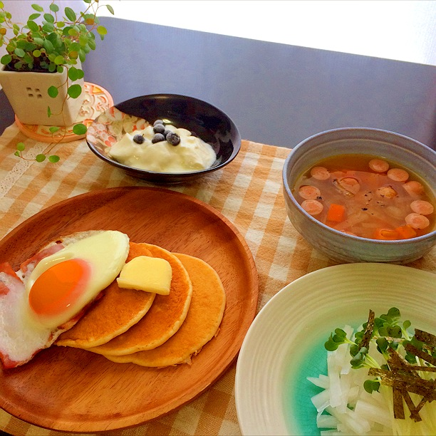 20140715_目玉焼きとパンケーキ