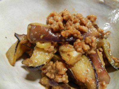 茄子の肉味噌炒め・アップ